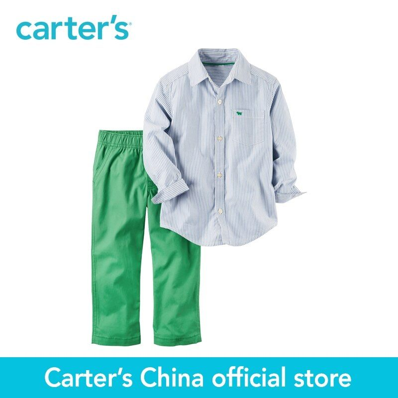 Carter's 2pcs baby 2-Piece Striped Button-Front & Canvas Pant Set 229G389,sold by Carter's China official store