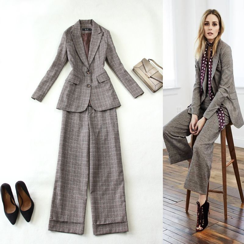 Autumn new women winter woolen plaid in the long section of the suit + straight wide leg pants Two-piece suit