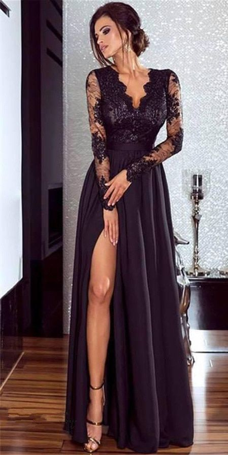 Femmes Dentelle de Soirée Partie De Bal Robe Dames Formelle Empire Taille Longue Robe Solide Col V À Manches Longues de Plancher-Longueur Maxi robes