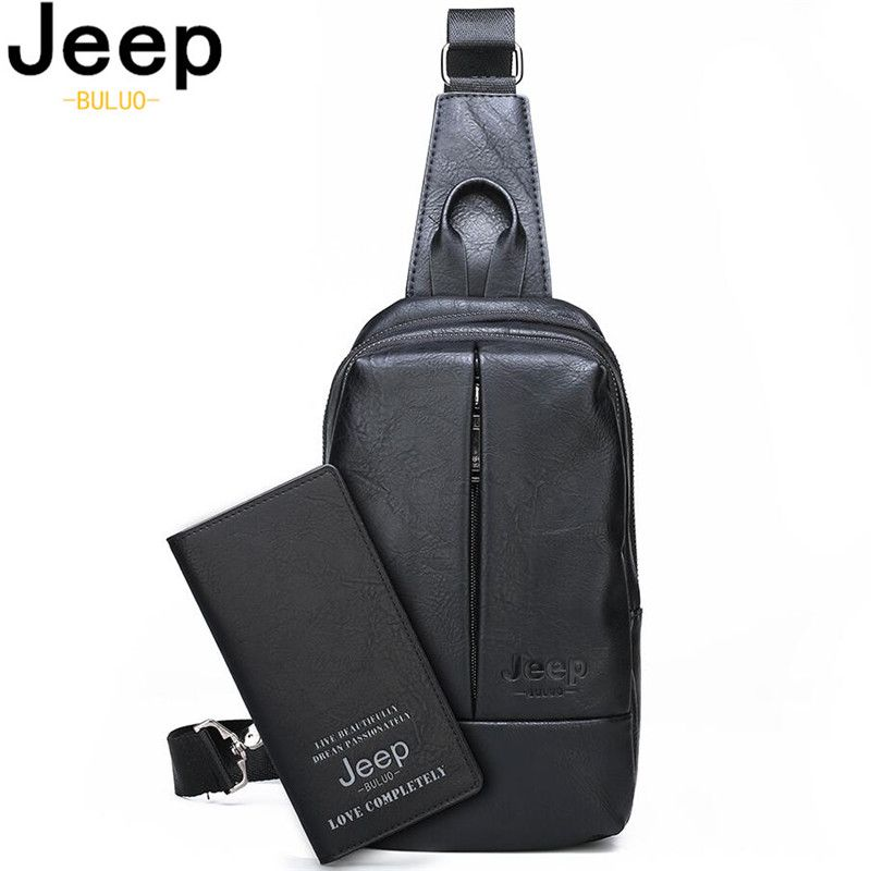 JEEP BULUO Men's Chest Bag Luxury Brands Double Zipper Crossbody Sling Bags Big Size High Quality Men Travel Shoulder Bag Cool