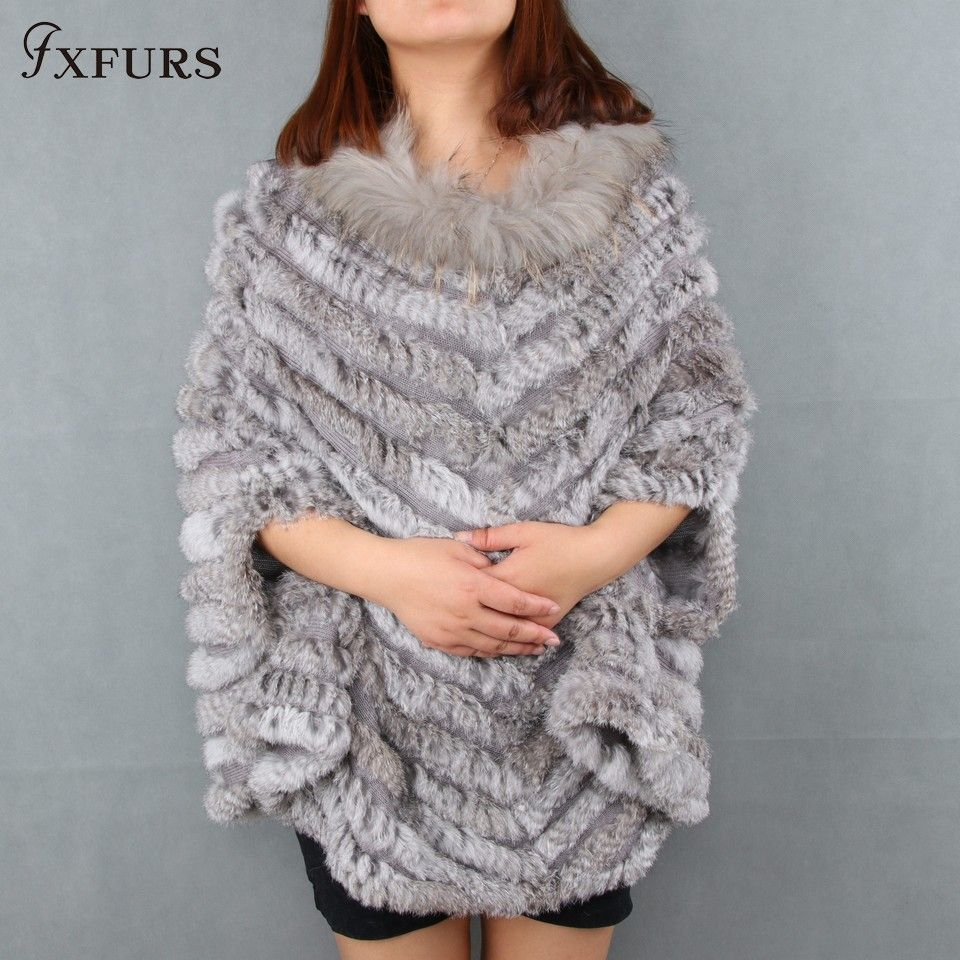 FXFURS 2017 Real Knitted Rabbit Fur Shawl Women Fashion Fur Cape with Raccoon Fur Collars Autumn Batwing Sweater 7 Colors