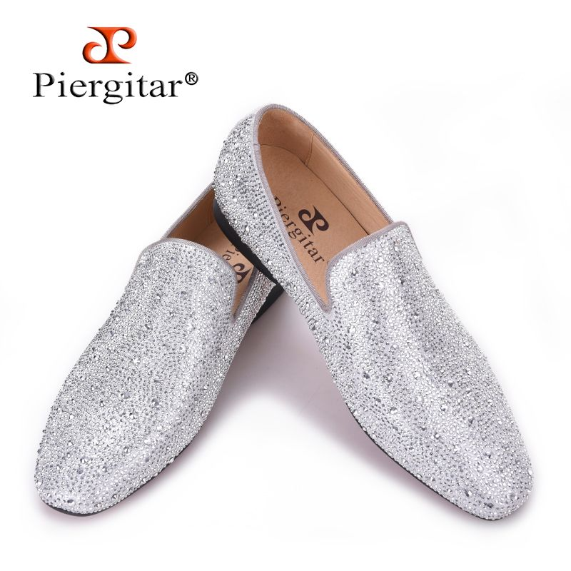 Piergitar 2018 New Style Genuine Leather Men Loafers with Silver Rhinestone Fashion Party and Banquet men's casual shoes slip-on