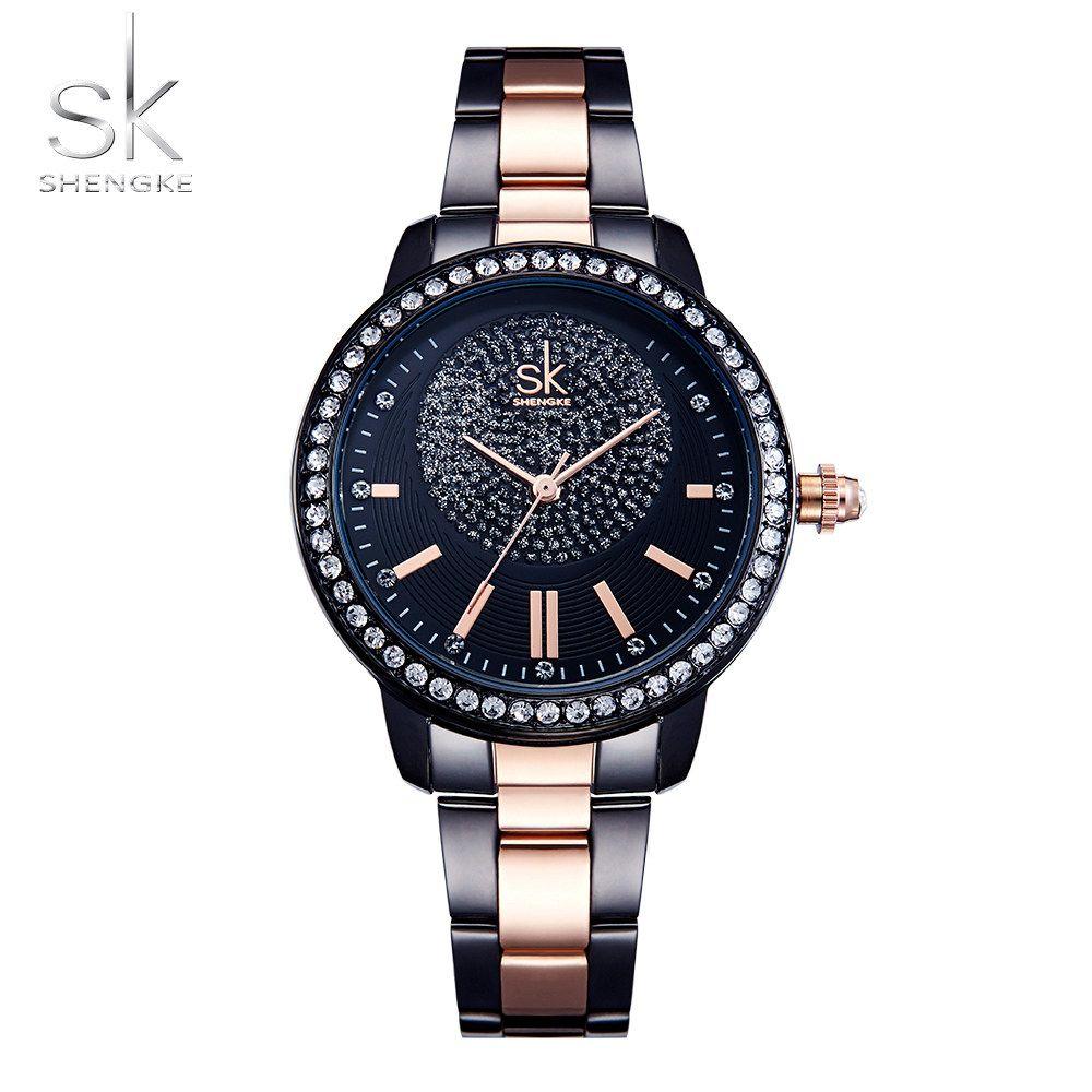 Shengke Rose Gold Watch Women Quartz Watches Ladies Top Brand Crystal Luxury Female Wrist Watch Girl Clock Relogio Feminino