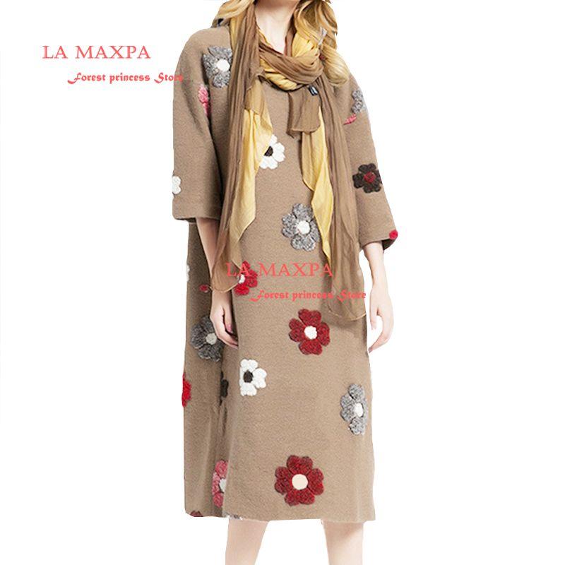 Nueva primavera la maxpa 2018 moda 100% lana redondo vestido media manga cuello flores empalmadas un vestido