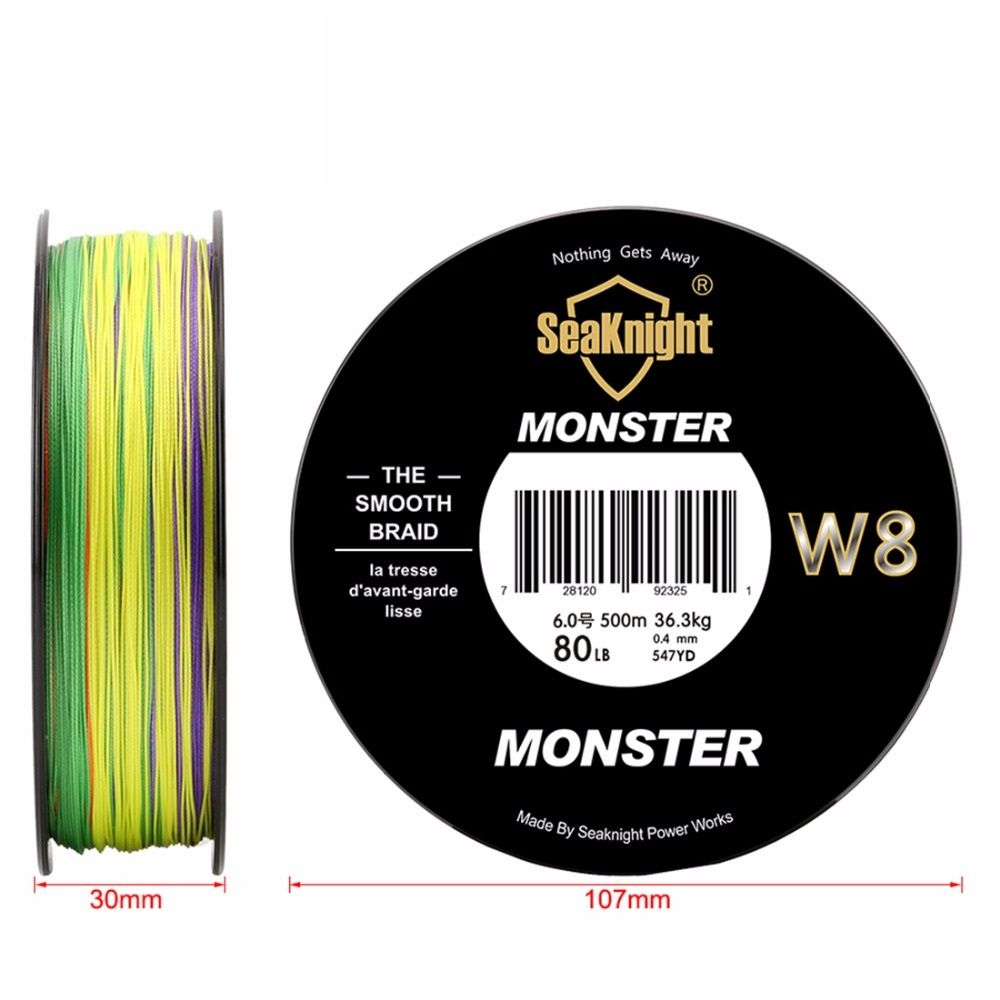 Best quality Monster W8 500M Braided Fishing Line Saltwater Wire 8 Strands Wide Angle Technology Multifilament PE Line 20-100LB