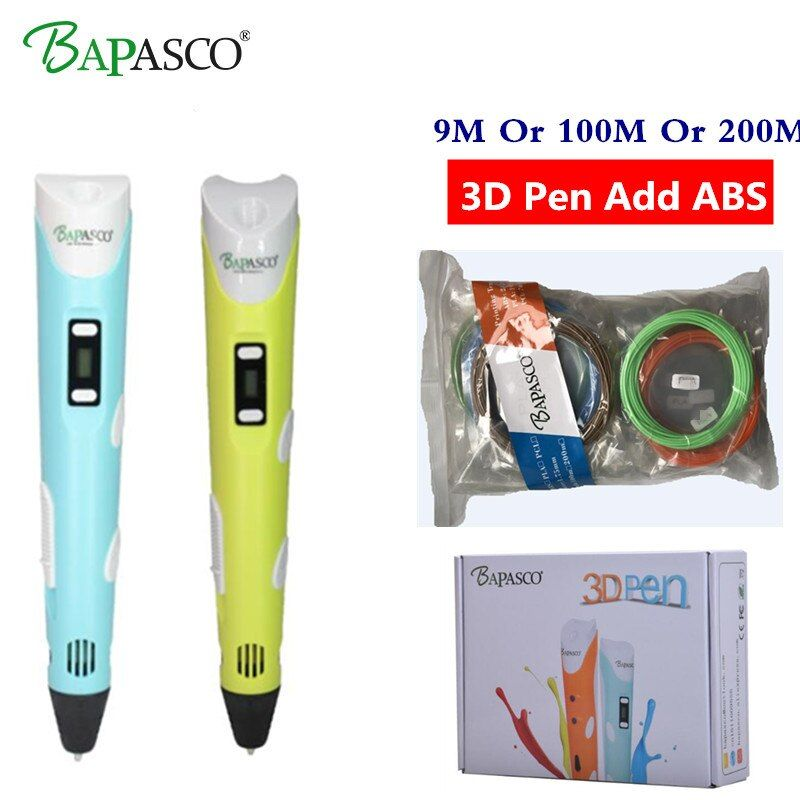 3D pens BAPASCO 2nd Generation RP-100B OLED Display DIY 3D Printer Pen With 100M Or 200M ABS Arts 3d pens For Kids Drawing Tools