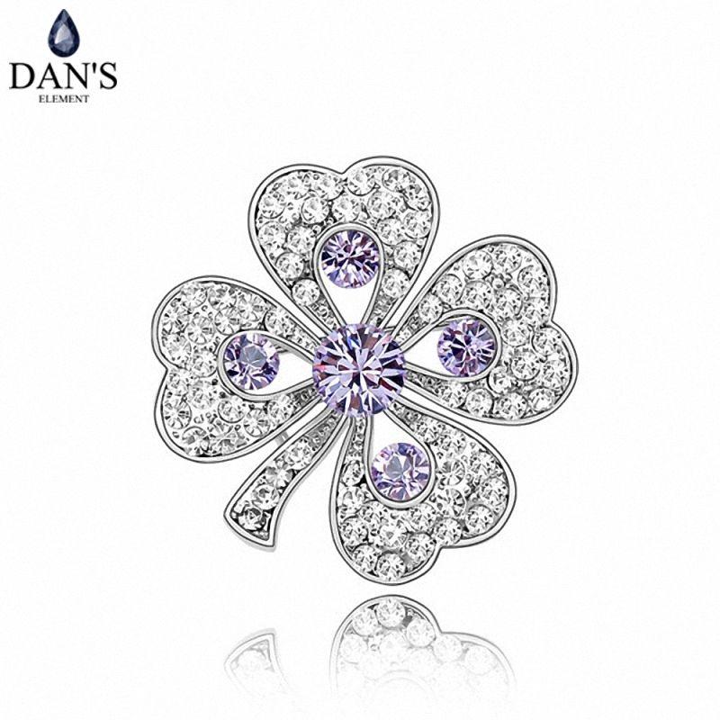 DAN la Verdadera Cristales Austriacos románticos Broches de La Manera de las mujeres de Cuatro Hojas Del Trébol Violeta