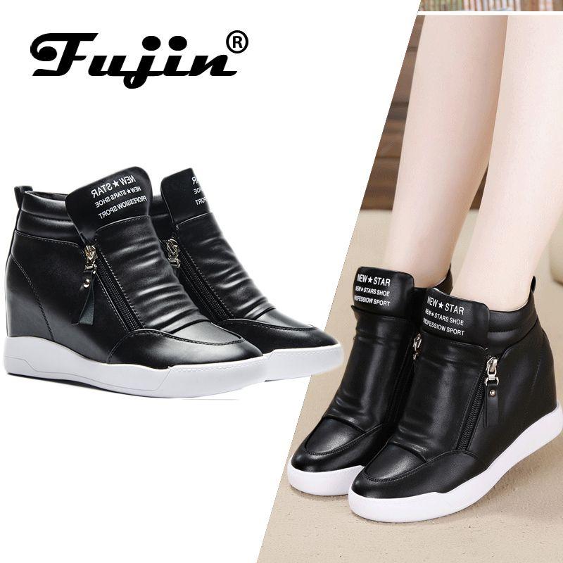 Fujin 2019 été automne plate-forme wedge talon bottes femmes chaussures avec plate-forme accrue semelle femme décontracté zip botas