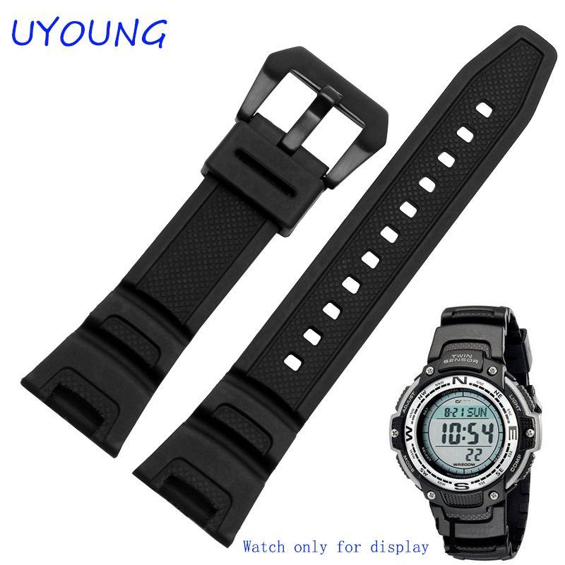 Nouveau Bracelet étanche en caoutchouc de Silicone noir pour bracelets de montre Casio sgw-100 montres intelligentes accessoires Bracelet