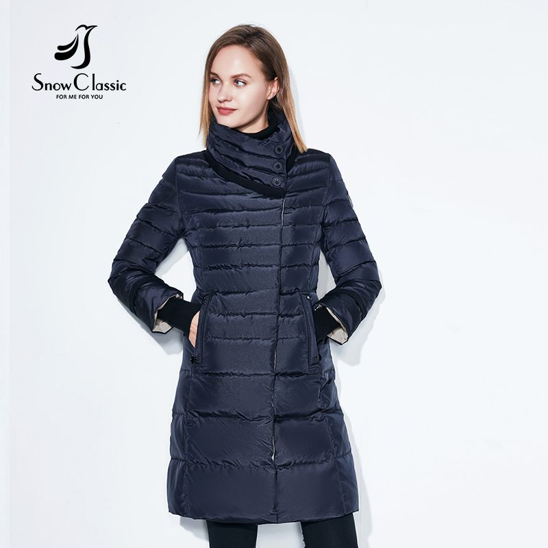 SnowClassic winter jacket women free scarf Slim Coats Female Warm Parka thick Outwear soft bio down Padded Regular long jackets