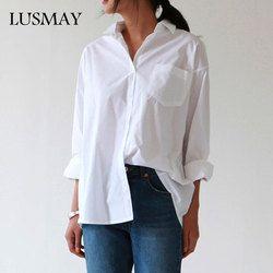 Wanita Longgar Kasual Kemeja 2018 Musim Gugur Baru Fashion Kerah Plus Ukuran Blus Lengan Panjang Tombol Kemeja Putih Wanita Atasan Streetwear