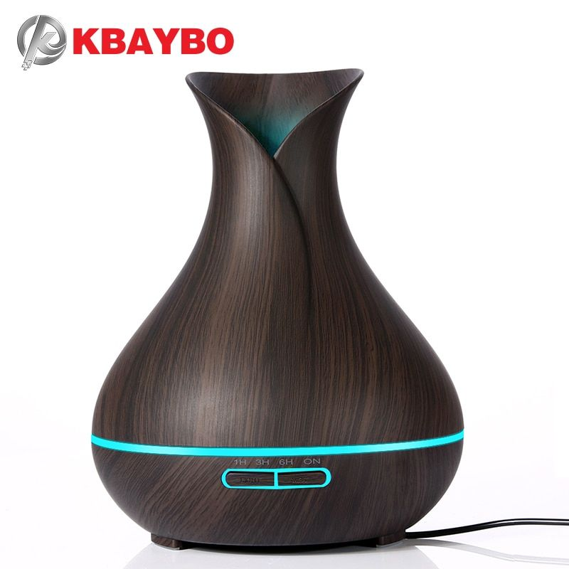 KBAYBO 400ml Aroma Essential Oil Diffuser Ultrasonic Air Humidifier with Wood Grain electric <font><b>LED</b></font> Lights aroma diffuser for home