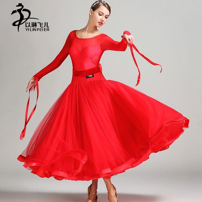 Adults Standard Ballroom Dress 2017 Modern Waltz Ballroom Dance Competition Dresses For Women Standard Dance Dress Fluffy Skirt