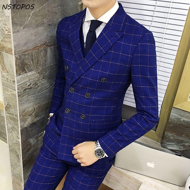 Двубортный Клетчатый костюм 2016 Новинка осень-зима Королевский синий смокинг жениха костюм Homme Mariage последние конструкции пальто брюки