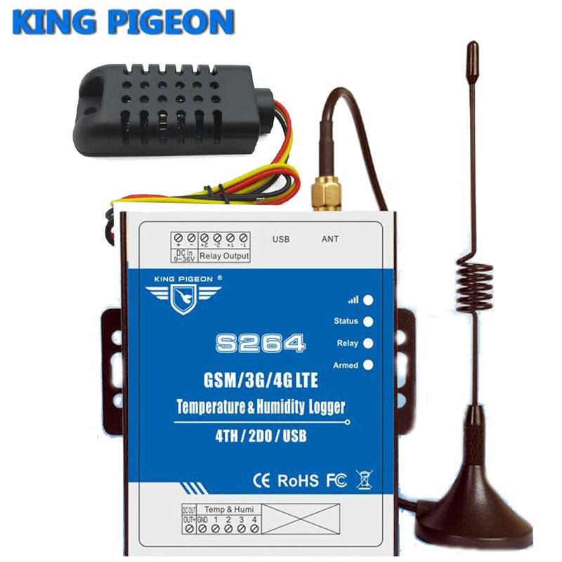 Wireless Temp&Humidity Data Logger Monitoring Alarm System support high/low SMS Call alert GSM 3G 4G Remote Switch S264