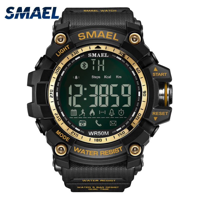 Fashion Casual Wristwatches Smael Brand Golden Style Multifunction Bluetooth Link Smart Watches 5Bars Waterproor Clock 1617B