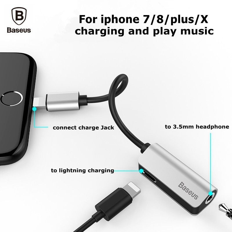 Baseus Audio Cable Adapter For iPhone 7 8 plus X 10 Earphone Cable For <font><b>Lightning</b></font> To 3.5mm 2 in 1 Headphone Jack Aux Cable Jack