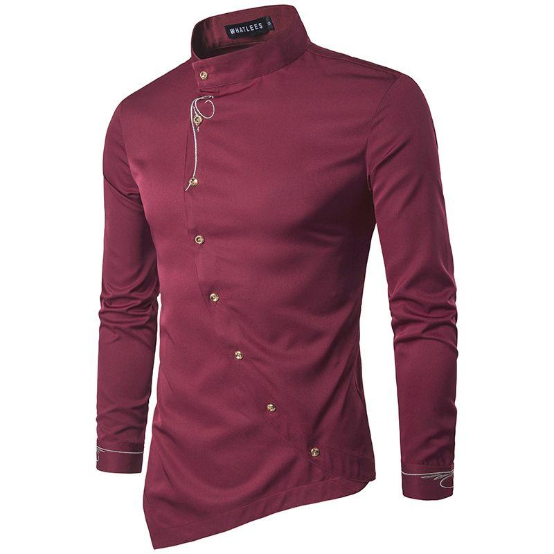 ZYFG FREE 2018 hommes mode coton chemises à manches longues chemise couleur unie Slim broderie chemises hommes décontracté irrégulière homme robe
