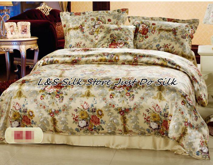 Silk Bedding Set 4pcs Floral Silk Mulberry Charmuse silk Print Soft Silk Pillowcase Flat Sheet Duvet Cover ls2125
