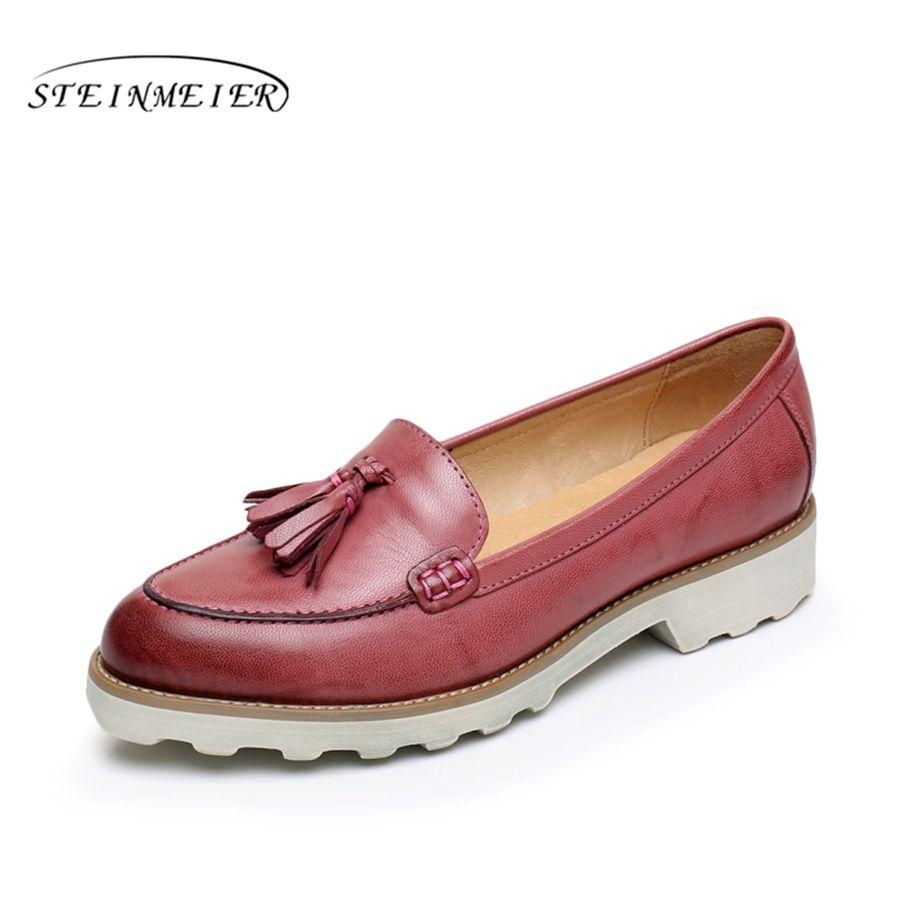 Tamaño 8.5 diseñador vintage zapatos planos de cuero de piel de oveja mujer EE. UU. punta redonda hecha a mano rojo marrón verde 2017 oxford zapatos para mujeres