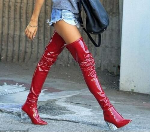 Clear Crystal Transparent High Heel Patent Leather Over The Knee Boots Black Red Latex Sexy Thigh High Party Zipper Long Boots