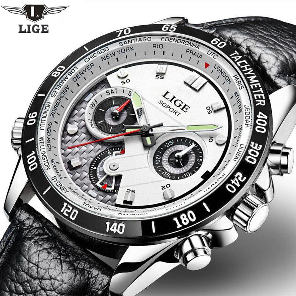 LIGE Fashion Chronograph Sport Mens Watches Top Brand Luxury Quartz Watch Reloj Hombre 2017 Clock Male Hour Relogio Masculino
