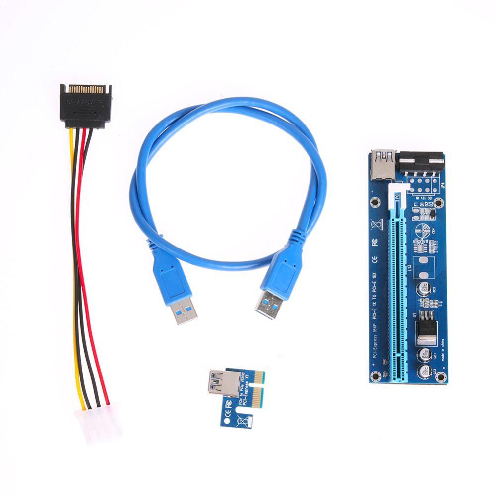 100 pcs PCI-E Express 1X à 16X Extender Riser Carte Adaptateur SATA broches Mâle à 6Pin Puissance Ligne USB 3.0 Câble pour L'exploitation Minière