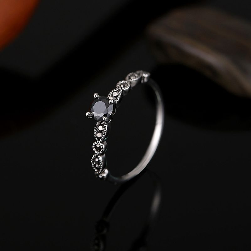 Black zircon stone rings for women antique silver color zinc alloy vintage female ring fashion wedding party jewelry bague femme