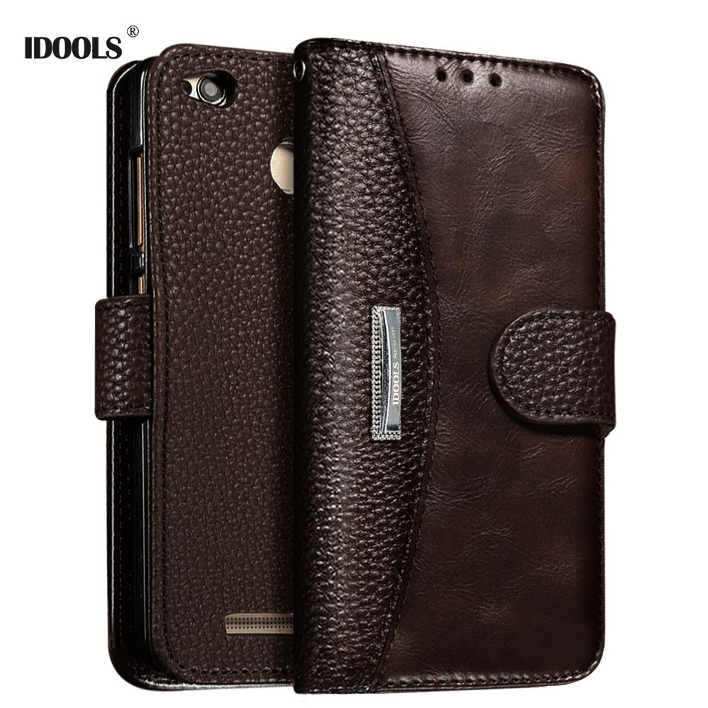 for Xiaomi Redmi 4X Case IDOOLS Dirt Resistant 5.0 Inch PU Leather Flip Wallet Cover Phone Bags Cases for Xiaomi Redmi 4X