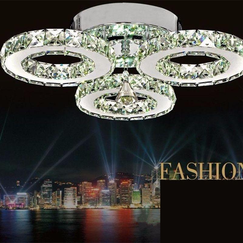 Moderne Plafonniers bref séjour Haut de gamme de style Européen plafond chambre led lampes led cristal cercle éclairage D450xH150mm