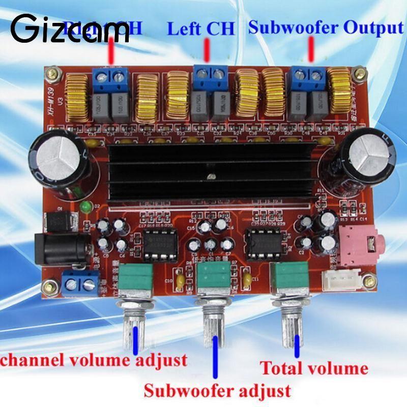 Gizcam для TPA3116D2 50Wx2 + 100 Вт 2.1 Звук канальный цифровой Усилители домашние доска 12-24 В DC xh-m139 профессиональный DIY развитию