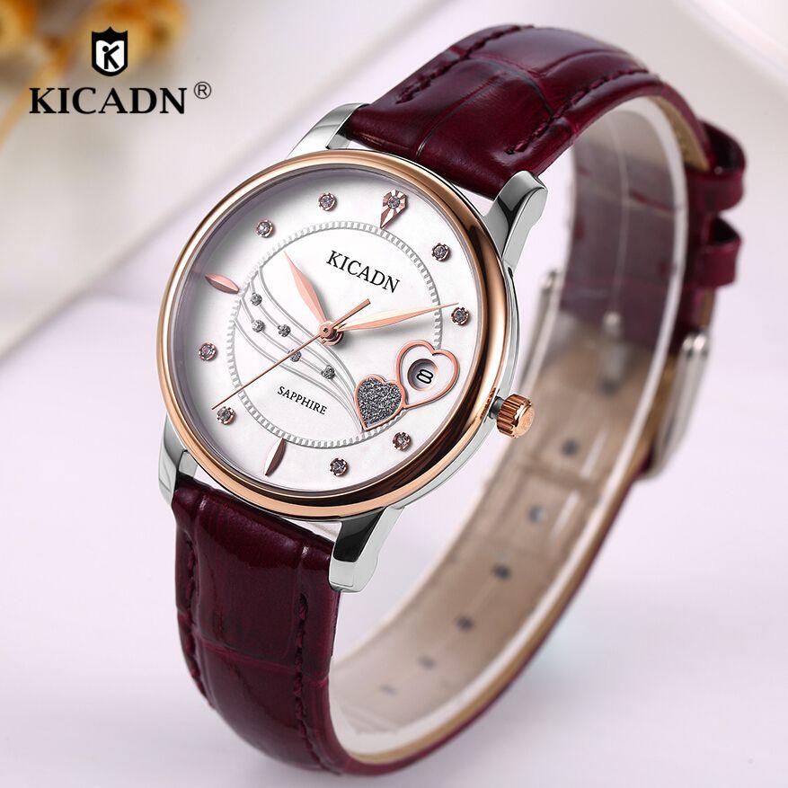 Fashion Ladies Quartz Watches Women Luxury Genuine Leather Wristwatches KICADN Top Brand Clock reloj mujer relogio feminino