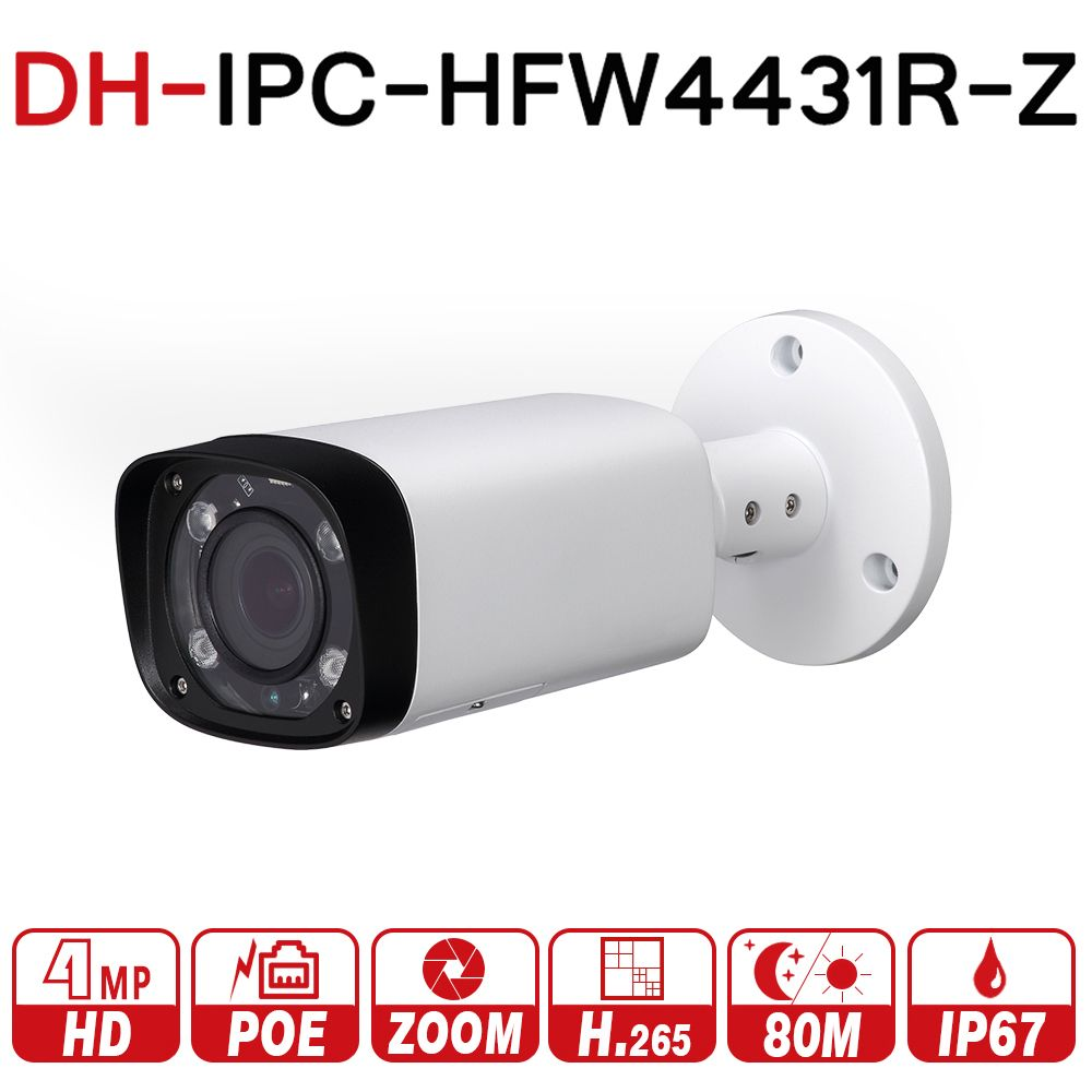 Dahua IPC-HFW4431R-Z 4MP Night Camera 80m IR 2.7~12mm VF lens Motorized Zoom Auto Focus Bullet IP Camera CCTV Security POE