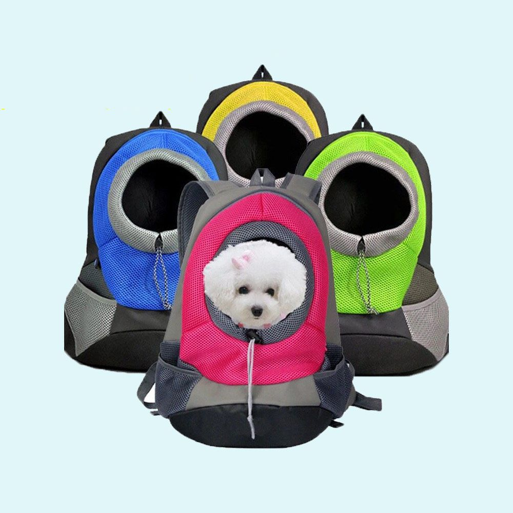 Pet <font><b>Carrier</b></font> Dog <font><b>Carrier</b></font> Pet Backpack Bag Portable Travel Bag Pet Dog Front Bag Mesh Backpack Head Out Double Shoulder Puppy Dog