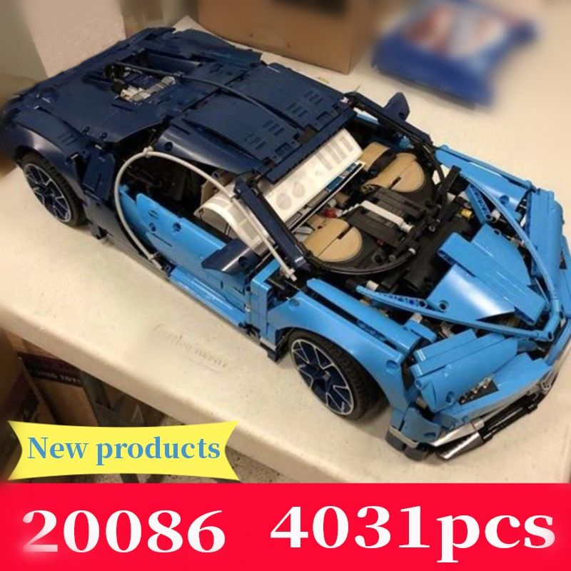 Building Blocks Technic Compatible 42083 Blue The Bugatti Chiron Racing Car Toys Gifts Bricks Lepin 20086 Technic Race Cars