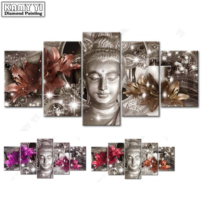 100% Full 5D Diy Daimond Painting Cross-stitch Buddha Lily 3D Diamond Painting Rhinestones Paintings Embroidery Multi-pictures