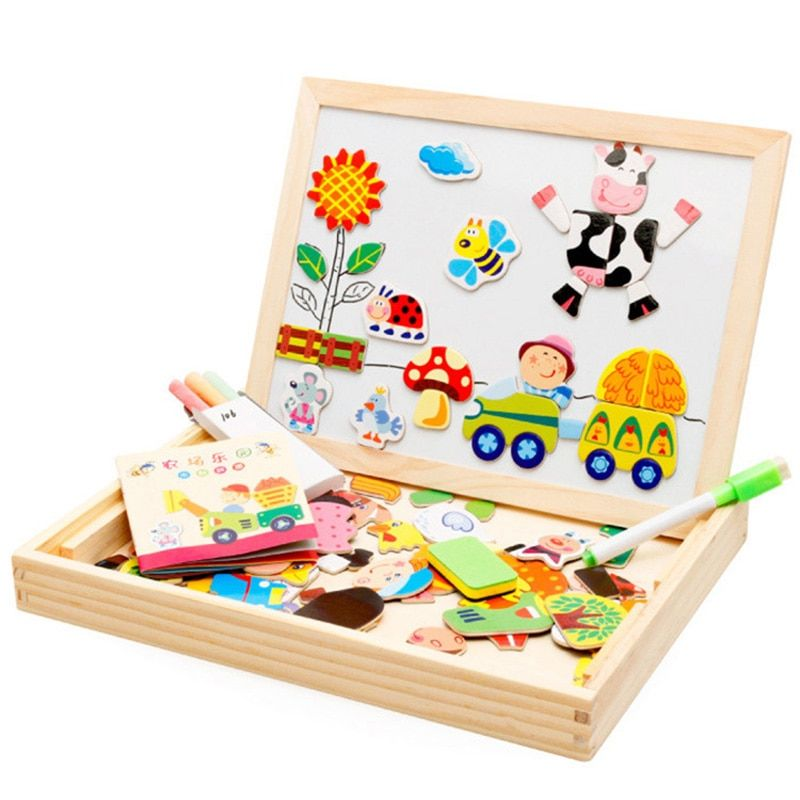 Mambobaby Cartoon Kids Educational Toys Wooden Puzzles For Children Forest Park Multifunctional Magnetic Puzzles Drawing Board