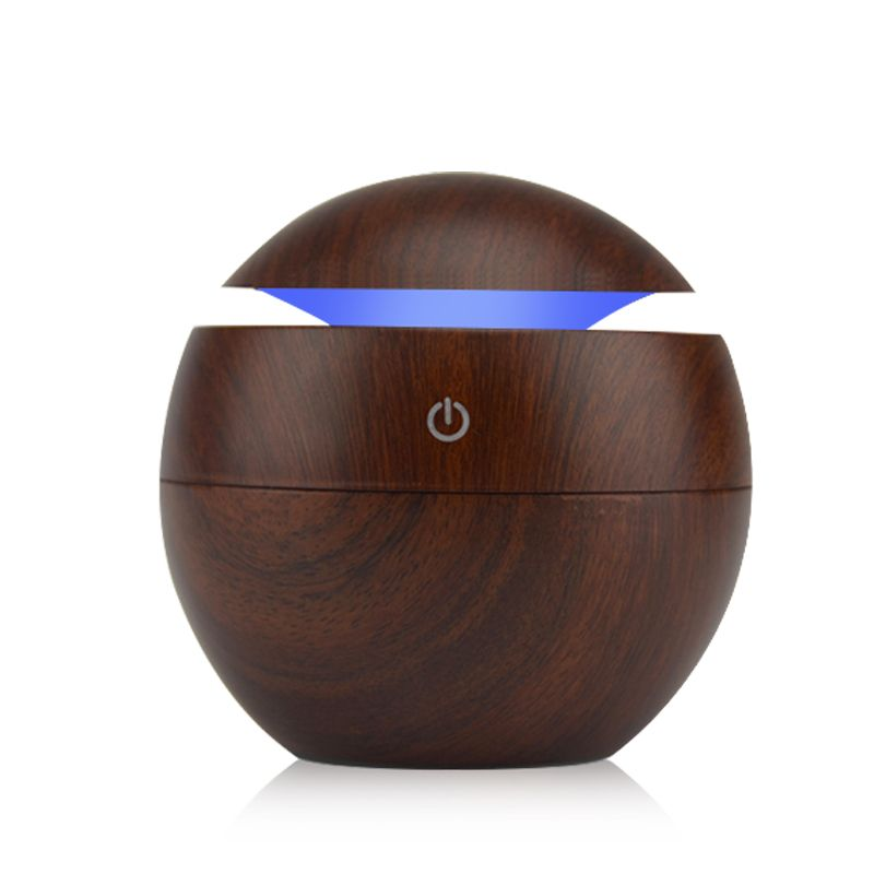 Mini Wooden Air Humidifiers Aromatherapy Ultrasonic Humidifier Oil Aroma Diffuser USB Purifier Color <font><b>Changing</b></font> LED Touch Switch