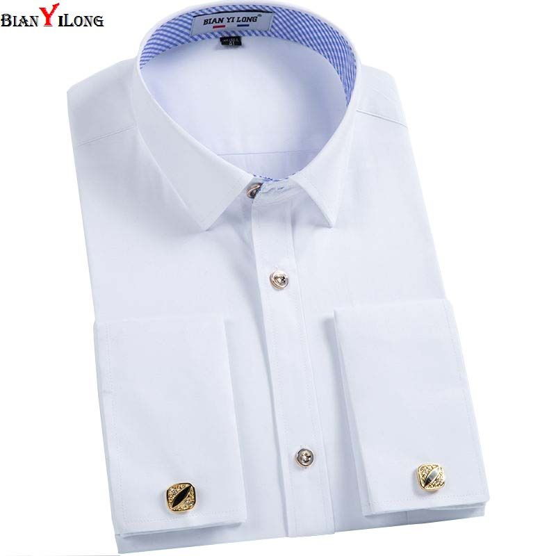 BIANYILONG Men French Cuff links Shirt 2017 New Long Sleeve Casual Male Brand Slim Fit French Cuff Marry Dress Men Shirt