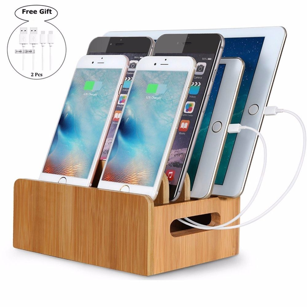 Bamboo Charging Station with Multiple Port Desktop Fast Charger Multiple USB Device Charging Dock Stand  Smartphones Phone