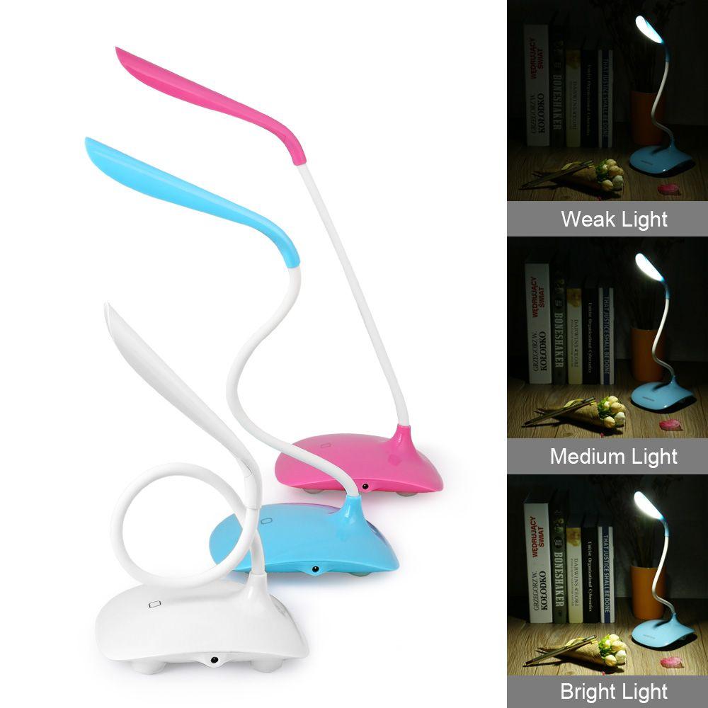 Trabajo de escritorio LED Lámpara de Luz Del Sensor Táctil LED USB Hotsale Interruptor Del tacto LED Lámpara de Mesa de Escritorio Flexible 3 nivel Ajustado brillo