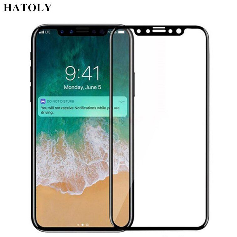 HATOLY Glass For iPhone X Tempered Glass Screen Protector Full Coverage Film for iPhone X Glass for Apple iPhone X iPhoneX Cover