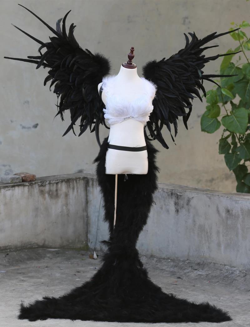 Black Devil feder flügel lange schöne feder tailing unterwäsche zeigen requisiten Mall versorgung ems-freies verschiffen