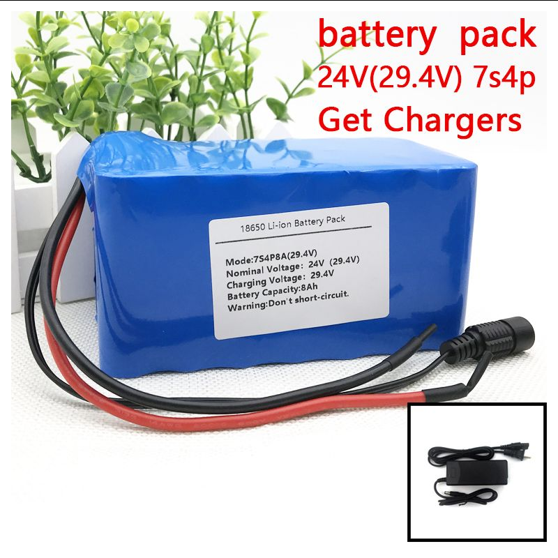 Liitokala 7S 18650 24V 25.9V 29.4V 8Ah Lithium Battery Pack Electric Bicycle Ebike Li-ion Batteries+built In 15A BMS+2A Charger