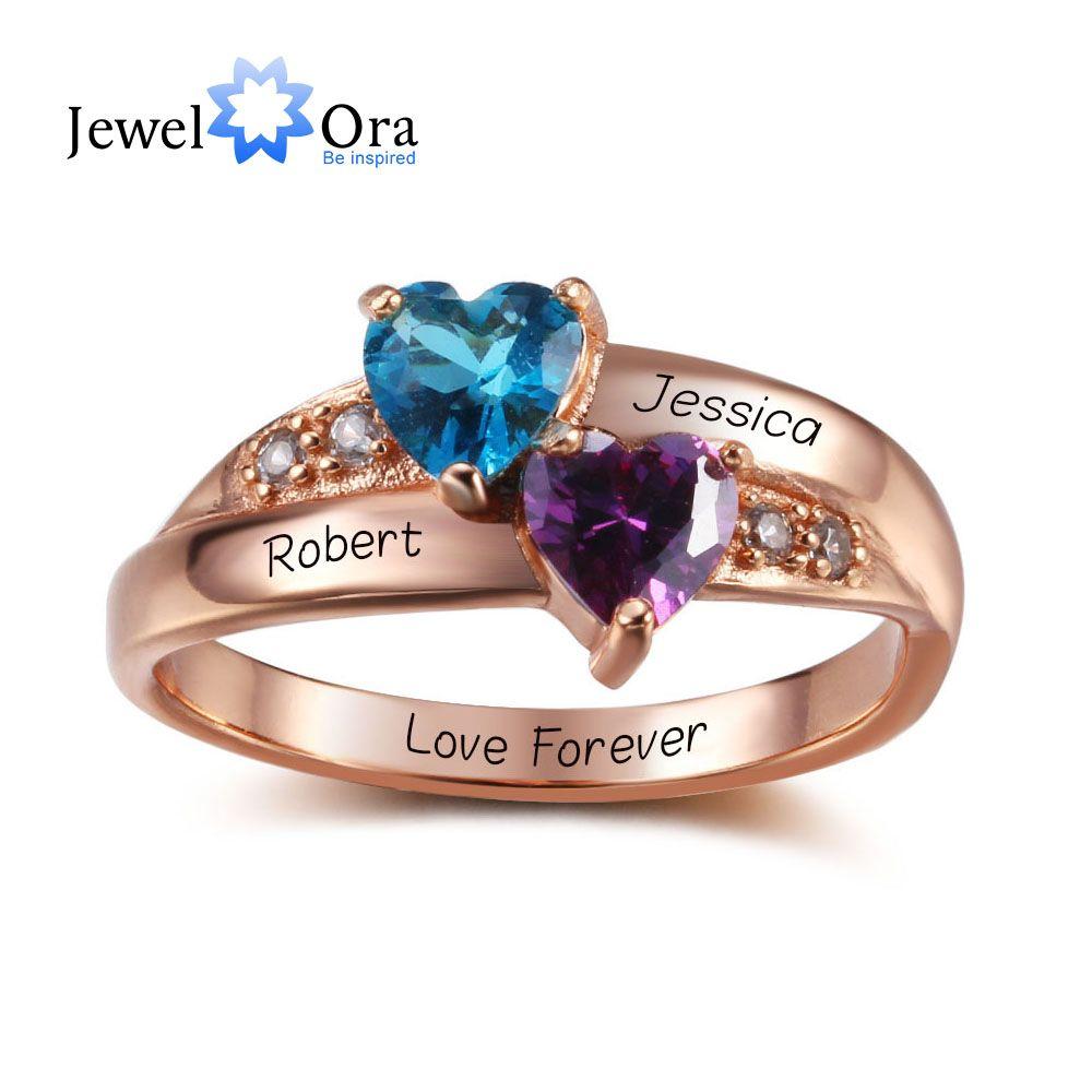 Кольца с камень, соответствующий месяцу своего рождения , персонализированные ювелирные изделия выгравировать Имя стерлингового серебра ...