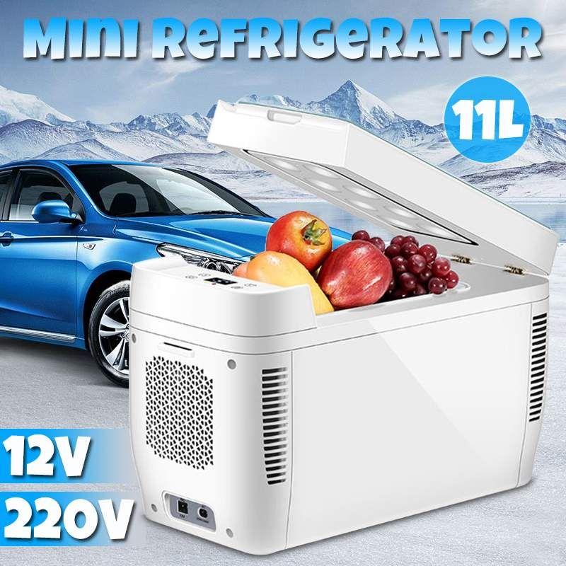 DC 12 V 240 V Mini Auto Dual-core Kühlschrank Mit Gefrierfach 11L Auto Kühlschrank Kompressor für Auto Haushalt Picknick kälte Kühler