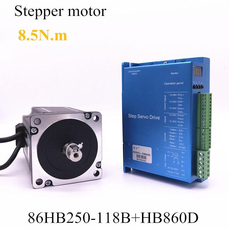 Geschlossen-schleife schritt motor 86HB250-118B + HB860D servo motor 8.5N.m Nema 86 Hybird geschlossen schleife 2-phase stepper motor fahrer