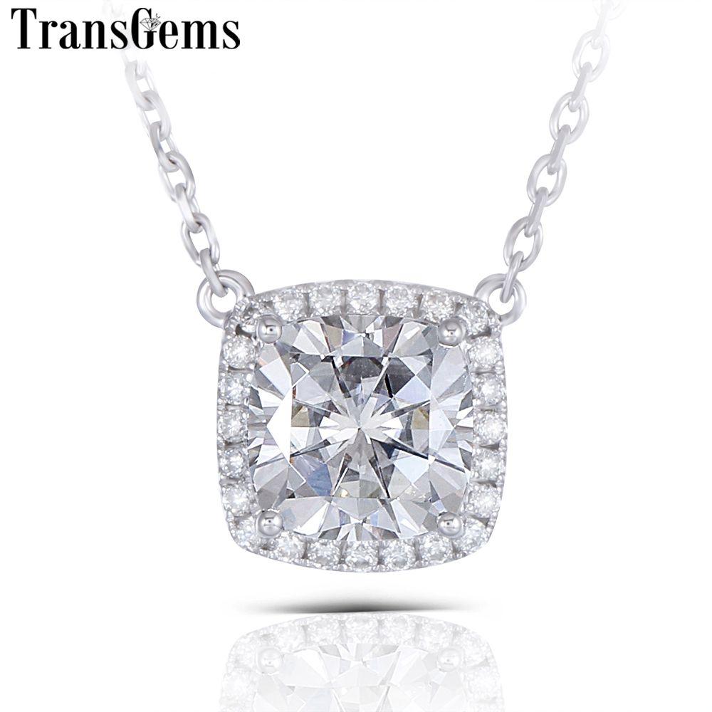 Transgems Solid 14K 585 White Gold Center 1ct 6MM Cushion Cut F Color Moissanite Pendant Necklace for Women Wedding Halo Pendant