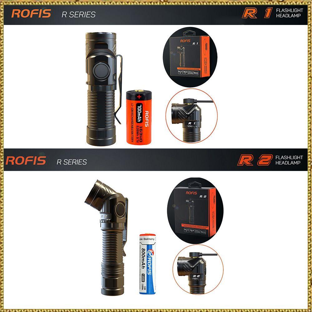 Rofis R1 16340 / R2 14500 / R3 18650 Mini Flashlight CREE LED Adjustable-head Flashlight Magnetic USB Torch Adjustable Head