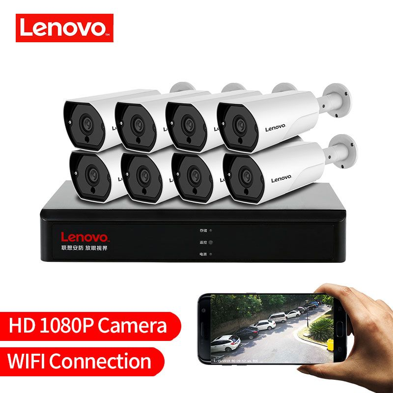 LENOVO 1080 P POE NVR Kit 2.0MP HD CCTV Sicherheit kamera System Audio monitor IP Kamera P2P Outdoor Video Überwachung system